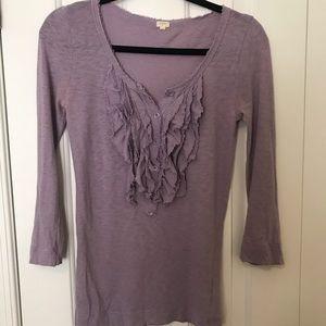 XS Jcrew 3/4 Length Sleeve Ruffle Shirt